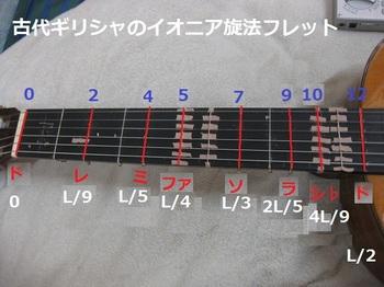 0608古代ギリシャのイオニア旋法_純正調ギターの(ガット)フレット写真IMG_6150.jpg